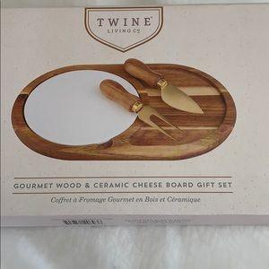 Gourmet Wood & Ceramic Cheese Board Gift Set
